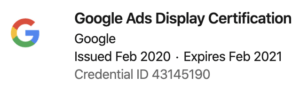 John Kennedy Google ads display certification